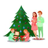 Kids Opens Christmas Gifts. Happy Family Winter Holidays Stock Photo