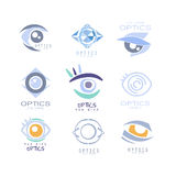 Kids Optics Clinic And Ophthalmology Cabinet Set Of Label Templates In Different Creative Styles And Light Blue Shades. Collection Of Promotion Logo Designs Stock Photography