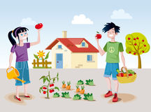 Kids and orchard royalty free illustration