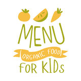 Kids Organic Food, Cafe Special Menu For Children Colorful Promo Sign Template With Text In Green And Orange Royalty Free Stock Photo