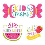 Kids organic menu hand drawn banner vector set baby restaurant healthy fresh food badge. Kids organic menu hand drawn banner vector set artistic decorative Royalty Free Stock Image