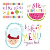 Kids organic menu hand drawn banner vector set baby restaurant healthy fresh food badge. Royalty Free Stock Image