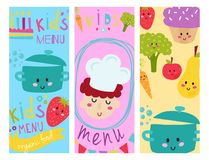 Kids organic menu hand drawn banner vector set baby restaurant healthy fresh food card design. Kids organic menu hand drawn banner vector set artistic Royalty Free Stock Image