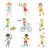 Kids Outdoor Activities Set Stock Image