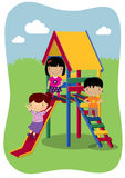 Kids Outdoor Play. Illustration of kids playing outside Stock Image
