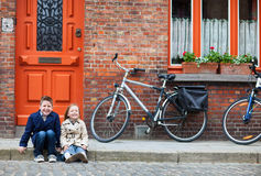 Kids outdoors in city Stock Image