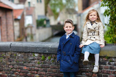 Kids outdoors in city Royalty Free Stock Image