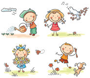 Kids outdoors in spring Stock Images