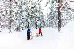Kids outdoors on winter Royalty Free Stock Image