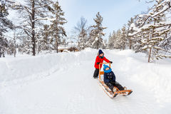 Kids outdoors on winter Royalty Free Stock Images
