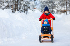 Kids outdoors on winter Royalty Free Stock Photo