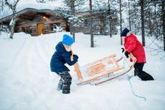 Kids outdoors on winter Stock Photos