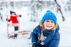 Kids outdoors on winter royalty free stock photography