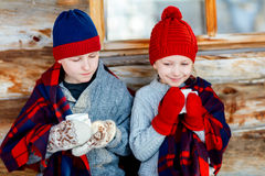 Kids outdoors on winter Stock Images