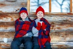 Kids outdoors on winter Stock Image