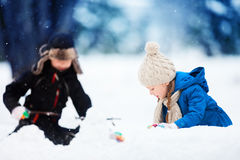 Kids outdoors at winter Stock Image