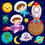 Kids at the outer space. Boys and girls at the outer space vector illustration