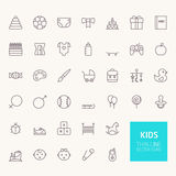 Kids Outline Icons Stock Photo
