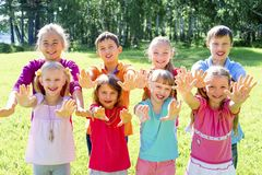 Kids outside in park Stock Images