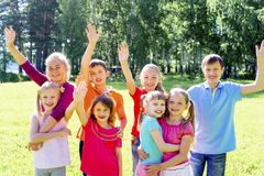 Kids outside in park Royalty Free Stock Photos