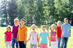 Kids outside in park Royalty Free Stock Photography