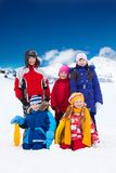 Kids outside on winter day Stock Image