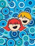 Kids over a blue circle background Stock Images
