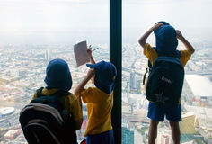 Kids over Melbourne stock photography
