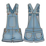 Kids overall. Colored tech sketch of an overall for further product development stock illustration