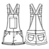 Kids overall. Tech sketch of an overall for further product development stock illustration
