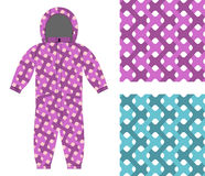 Kids overalls. Set of seamless pattern interlocking Web.. Children's clothing template and color textures for fabrics Stock Images