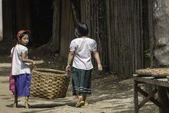 Kids in Pagan. Kids goto the home in the village in Pagan , Myanmar (Burma Royalty Free Stock Image