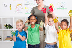 Kids with paint royalty free stock images