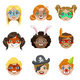Kids With Painted Faces Portraits Collection Royalty Free Stock Photography
