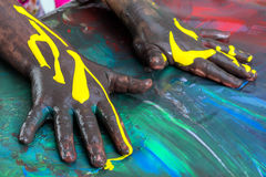 Kids painted hands. Royalty Free Stock Photos