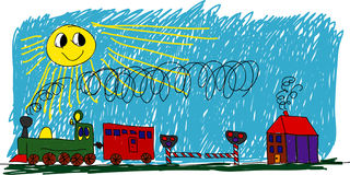 Kids painting. Vector - kids painting - train in sunny day Royalty Free Stock Image