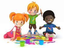 Kids Painting. 3D Render of Kids Painting Stock Images