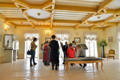 Kids painting class at the Priory Palace in Gatchina Stock Photos