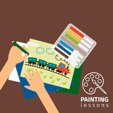 Kids painting lessons illustration