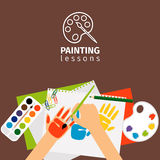 Kids painting lessons vector illustration Stock Images