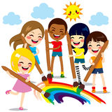 Kids Painting Rainbow. Five cute little kids painting together a beautiful colorful rainbow with paint colors and brushes Stock Photography