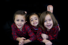 Kids in Pajamas (ready for bed) Stock Photo
