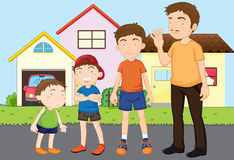 Kids with papa Stock Photography