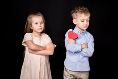Kids with paper heart Royalty Free Stock Photography