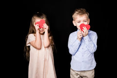 Kids with paper hearts Royalty Free Stock Photo