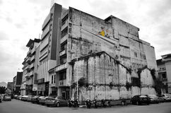 Kids on a Paper Plane painted by Ernest Zacharevic in Ipoh. Royalty Free Stock Images