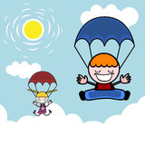 Kids with parachute Royalty Free Stock Images
