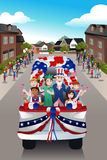 Kids in a Parade Celebrating Fourth of July Royalty Free Stock Images