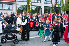 The kids parade at norwegian constitution day. In Stavanger royalty free stock photo