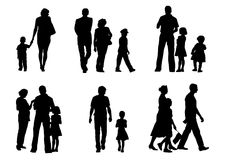 Kids and Parents. Vector drawing of parents with young children to walk Stock Photos